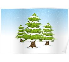 Snowy Winter Trees Poster