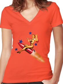 rock it to the moon! Women's Fitted V-Neck T-Shirt