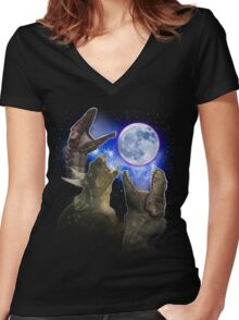 Exclusive Three Dinosaur Moon Shirt! Women's Fitted V-Neck T-Shirt