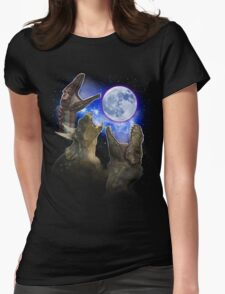 Exclusive Three Dinosaur Moon Shirt! Womens Fitted T-Shirt