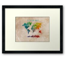 World Map Oceans and Continents Framed Print