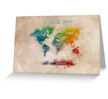 World Map Oceans and Continents Greeting Card