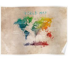 World Map Oceans and Continents Poster
