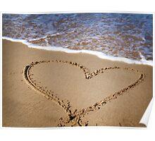 Fleeting Heart on a Sandy Beach Poster