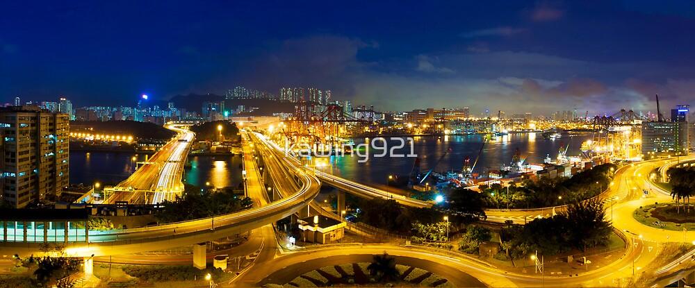 Traffic through downtown of Hong Kong at night by kawing921