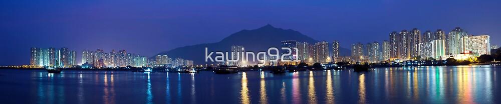 Hong Kong downtown at night by kawing921