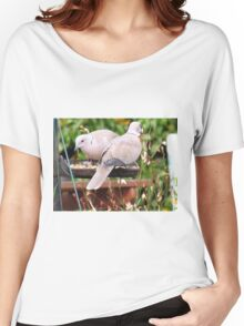 Two Doves Eating Bird Seeds Women's Relaxed Fit T-Shirt