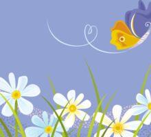 Butterflies over the Flowers Sticker