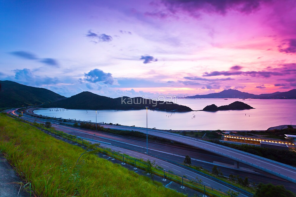 Highway at sunset by kawing921