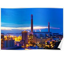 Power plant in Hong Kong at sunset Poster