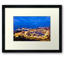 Oil tanks at night in Hong Kong Framed Print