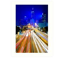 Hong Kong traffic at night Art Print