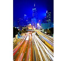 Hong Kong traffic at night Photographic Print