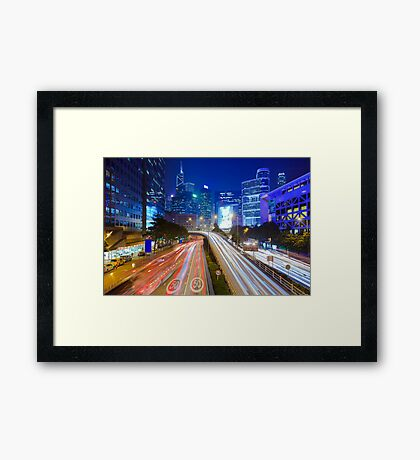 Busy traffic in Hong Kong at night Framed Print