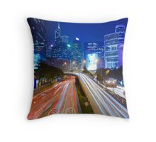 Busy traffic in Hong Kong at night Throw Pillow