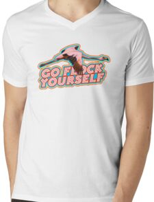 Flamingo Says Mens V-Neck T-Shirt