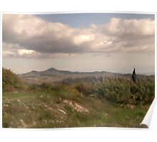 Lefkara Country Site & Clouds with oil brush Poster