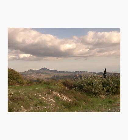 Lefkara Country Site & Clouds with oil brush Photographic Print