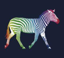 Colorful Rainbow Zebra One Piece - Short Sleeve