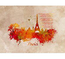Paris skyline Romantic Photographic Print