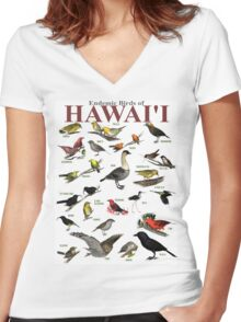 The Endemic Birds of Hawaii Women's Fitted V-Neck T-Shirt