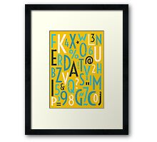 Retro Letters and Numbers Framed Print