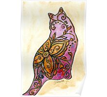 Orange & Purple Flower Kitty Poster