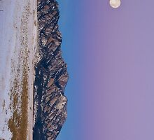 Full Moon over Flatirons at Sunrise by diamondphotogal