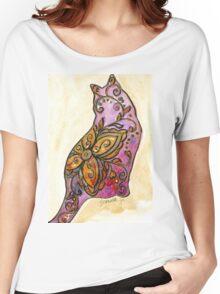 Orange & Purple Flower Kitty Women's Relaxed Fit T-Shirt