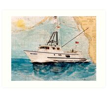 Tuna Fishing Boat HER GRACE Nautical Chart Cathy Peek Art Art Print