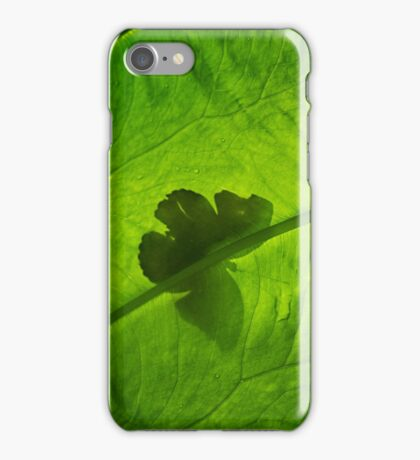 Butterfly Silhouette on Leaf iPhone Case/Skin