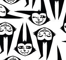 Three Batcat Faces by blacklilypie