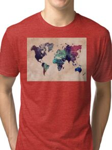 World Map cold World Tri-blend T-Shirt