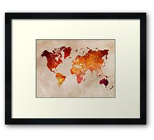 Map of the world Red World Framed Print