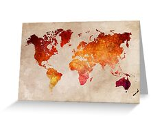 Map of the world Red World Greeting Card