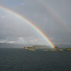 Rainbow over sea and islands at Bergen Norway by Grace Johnson