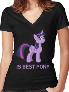 Twilight Sparkle Is Best Pony - MLP FiM - Brony Women's Fitted V-Neck T-Shirt