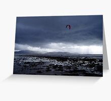 Atlantic storm approaches as man with hand glider on Inch Beach. Greeting Card