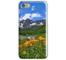 Maroon Bells with Wildflowers iPhone Case/Skin