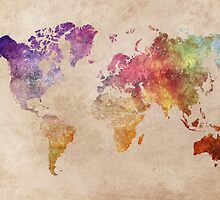 Map of the world art watercolor by JBJart