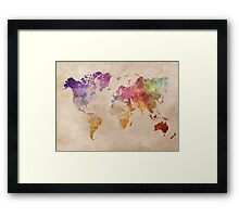 Map of the world art watercolor Framed Print