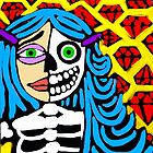 Blue haired skeleton girl. by Trent Shy