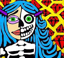 Blue haired skeleton girl. by Trent Shy