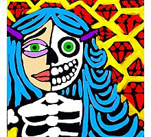 Blue haired skeleton girl. Photographic Print