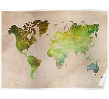 Green World Map ecology Poster