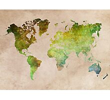 Green World Map ecology Photographic Print
