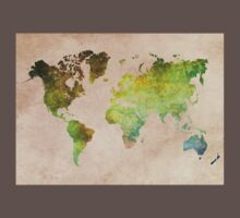 Green World Map ecology One Piece - Short Sleeve