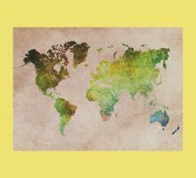 Green World Map ecology Kids Tee