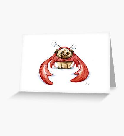 Lobster Pug Greeting Card