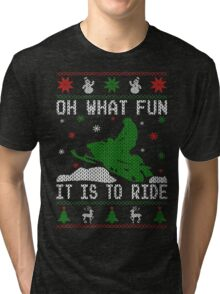 Snowmobile Ugly Christmas Tees Tri-blend T-Shirt